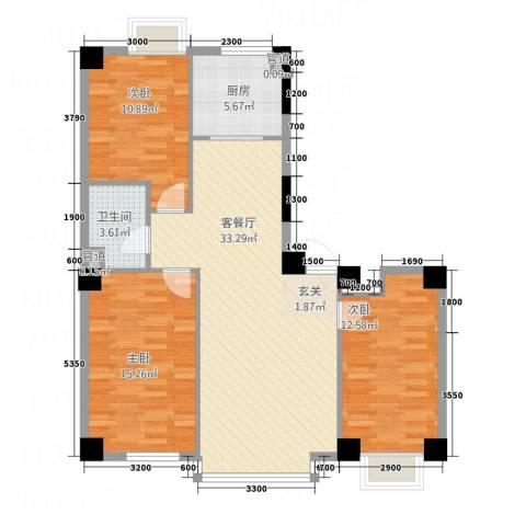 壹号公馆3室1厅1卫1厨114.00㎡户型图