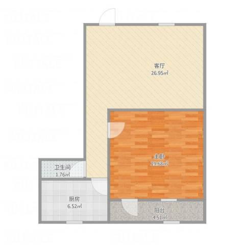 玉函小区1室1厅1卫1厨80.00㎡户型图