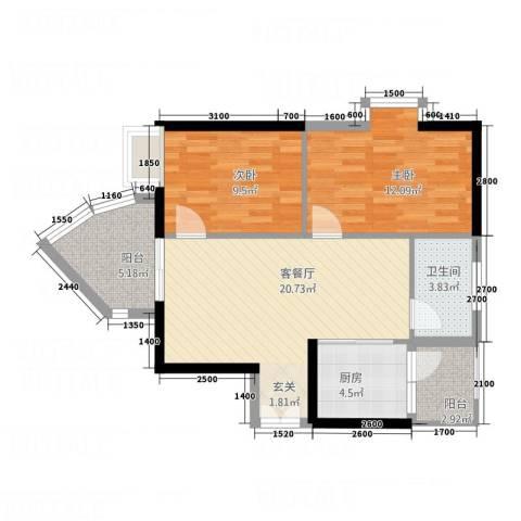 金宝怡庭2室1厅1卫1厨58.75㎡户型图