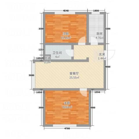 天成家园2室1厅1卫1厨92.00㎡户型图