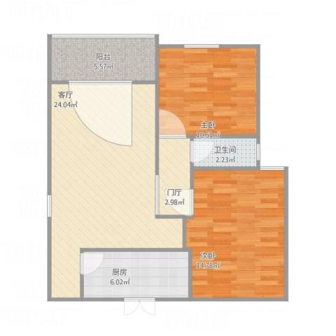 侨建花园2室1厅1卫1厨89.00㎡户型图