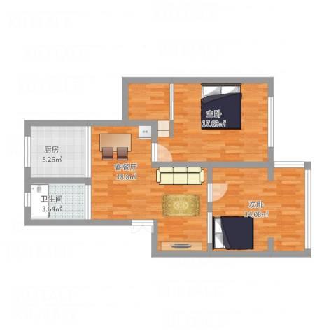 桂平小区new2室1厅1卫1厨86.00㎡户型图