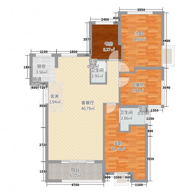 三迪木兰枫丹138.20㎡A9#10#1、6单元4室户型4室2厅2卫
