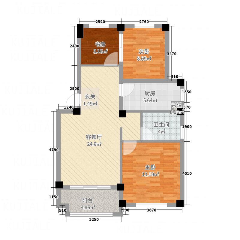 林城―兰乔圣菲5.70㎡兰乔圣菲3户型3室2厅1卫
