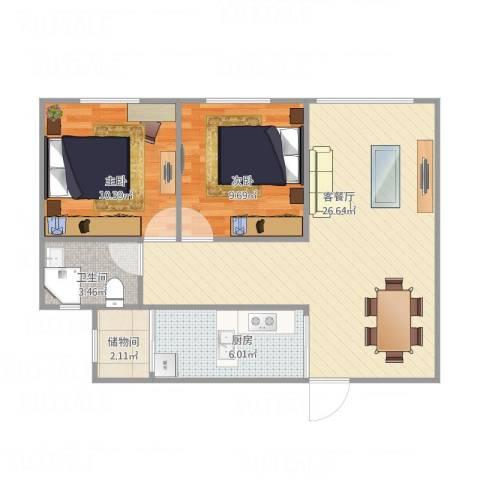 东方巴黎广场2室1厅1卫1厨79.00㎡户型图