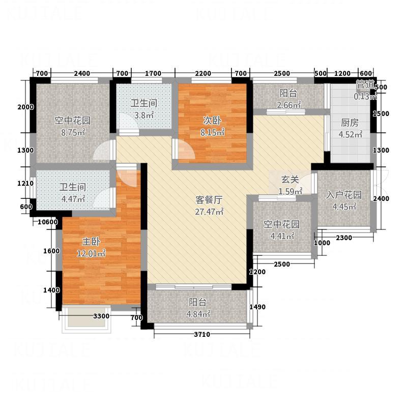 兆润・江山城13.72㎡A2户型2室2厅2卫1厨