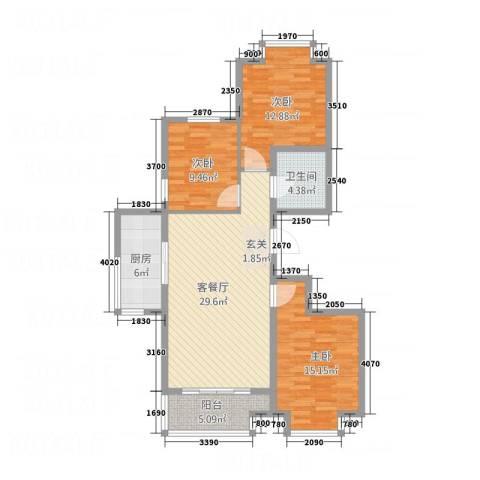 嘉晟阳光城3室1厅1卫1厨115.00㎡户型图