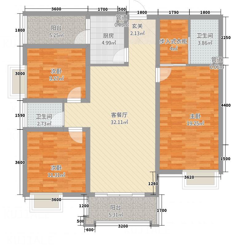 江东华庭12.13㎡H户型3室2厅2卫1厨