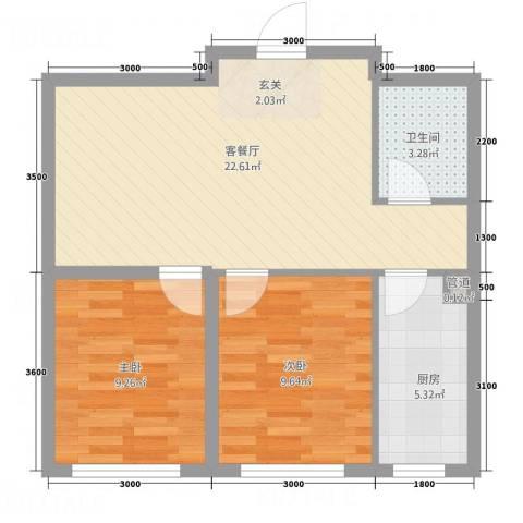 荟萃园2室1厅1卫1厨50.22㎡户型图