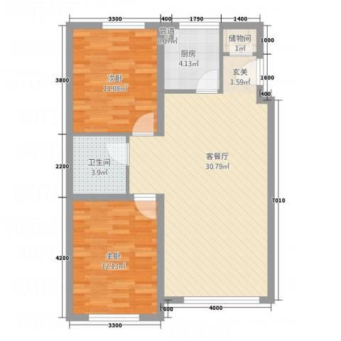 荟萃园2室1厅1卫1厨87.00㎡户型图