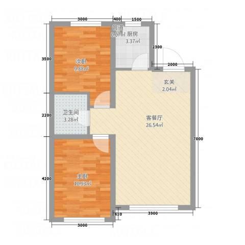 荟萃园2室1厅1卫1厨54.06㎡户型图