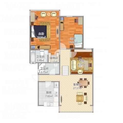 凤起都市花园3室1厅2卫1厨113.00㎡户型图