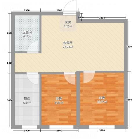 荟萃园2室1厅1卫1厨72.00㎡户型图