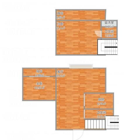 漾河公寓2室2厅2卫1厨123.00㎡户型图