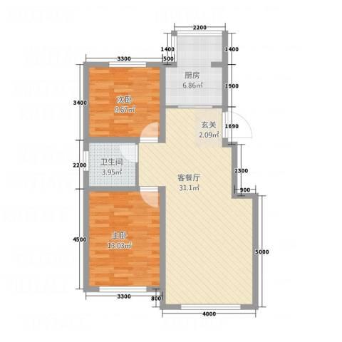 荟萃园2室1厅1卫1厨86.00㎡户型图