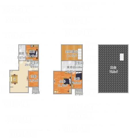 新天地小区4室1厅2卫1厨257.00㎡户型图
