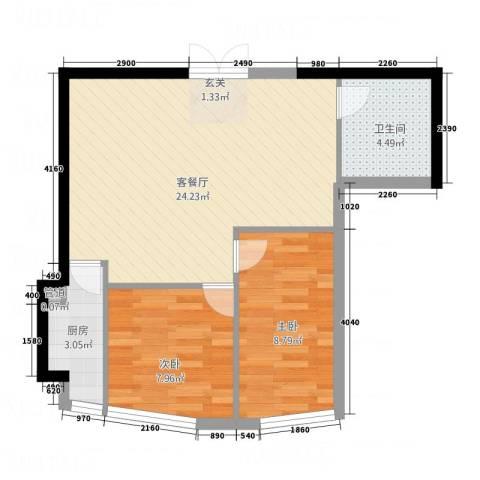 盈馨佳苑2室1厅1卫1厨2268.00㎡户型图