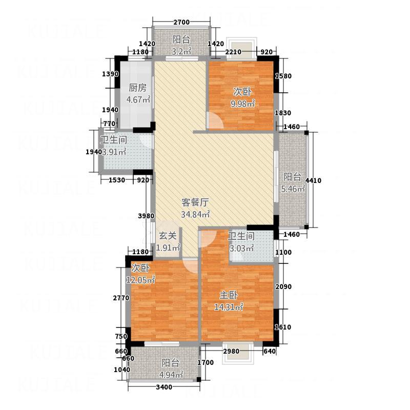 衡阳名郡135.00㎡13#楼P4户型3室2厅2卫1厨