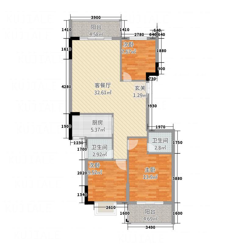 衡阳名郡118.00㎡9#楼F2户型3室2厅2卫1厨