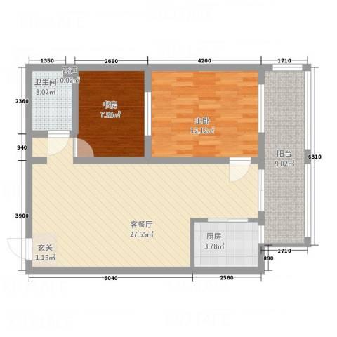 武城新镇2室1厅1卫1厨72.72㎡户型图