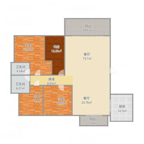 朗晴轩6栋2座5024室1厅2卫1厨237.00㎡户型图