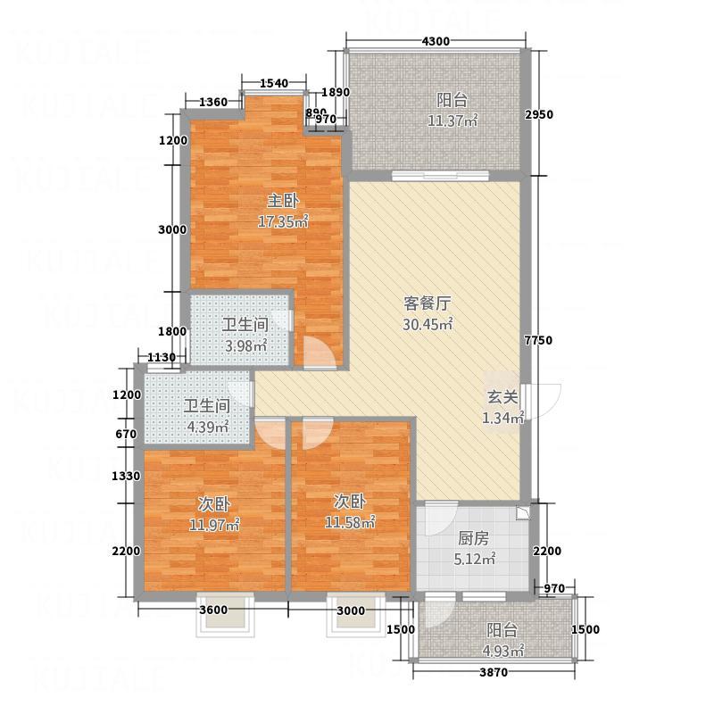东晖御庭苑126.50㎡1#楼A\B户型3室2厅2卫1厨