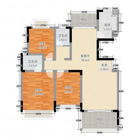 大地紫金城3室1厅2卫1厨128.00㎡户型图