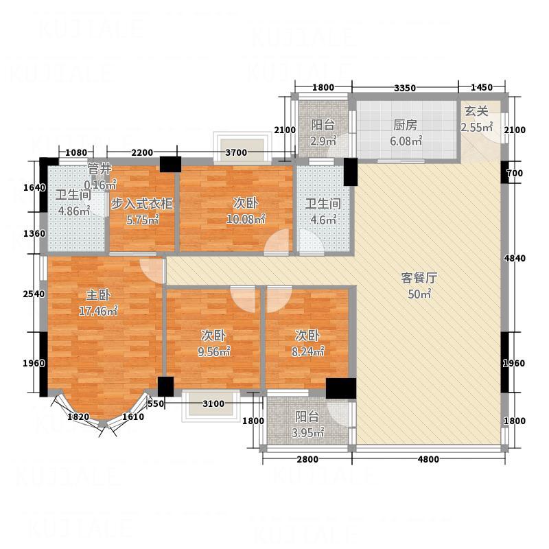 松鹤国际新城14.22㎡A1座2-13层03单位户型4室2厅2卫1厨