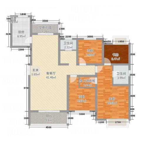 华勤紫金城4室1厅2卫1厨155.00㎡户型图