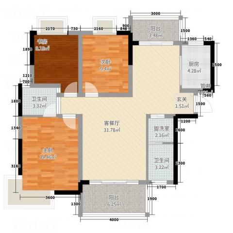 大地紫金城3室2厅2卫1厨86.58㎡户型图