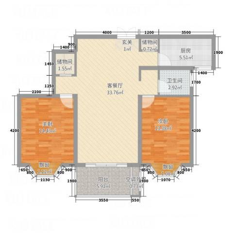 印象新城2室1厅1卫1厨78.92㎡户型图