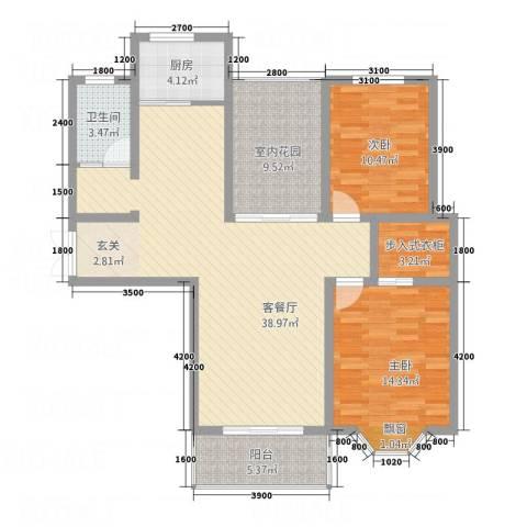印象新城2室1厅1卫1厨125.00㎡户型图