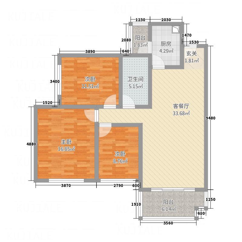 蓝堡国际127.84㎡蓝宝国际户型3室2厅2卫1厨