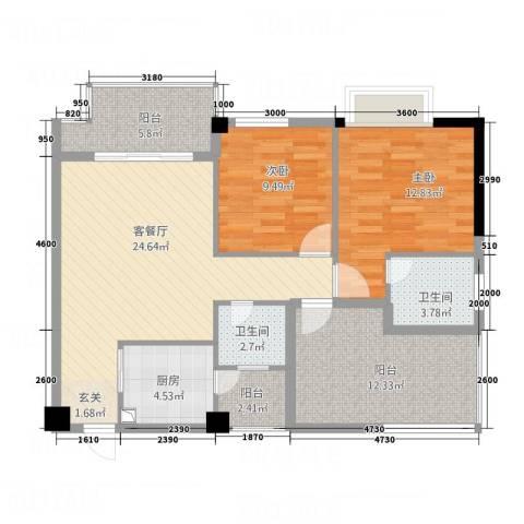 东晖御庭苑2室1厅2卫1厨78.51㎡户型图