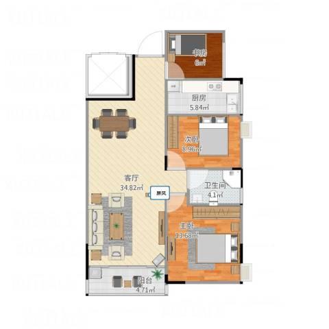 蓝天金地3室1厅1卫1厨105.00㎡户型图