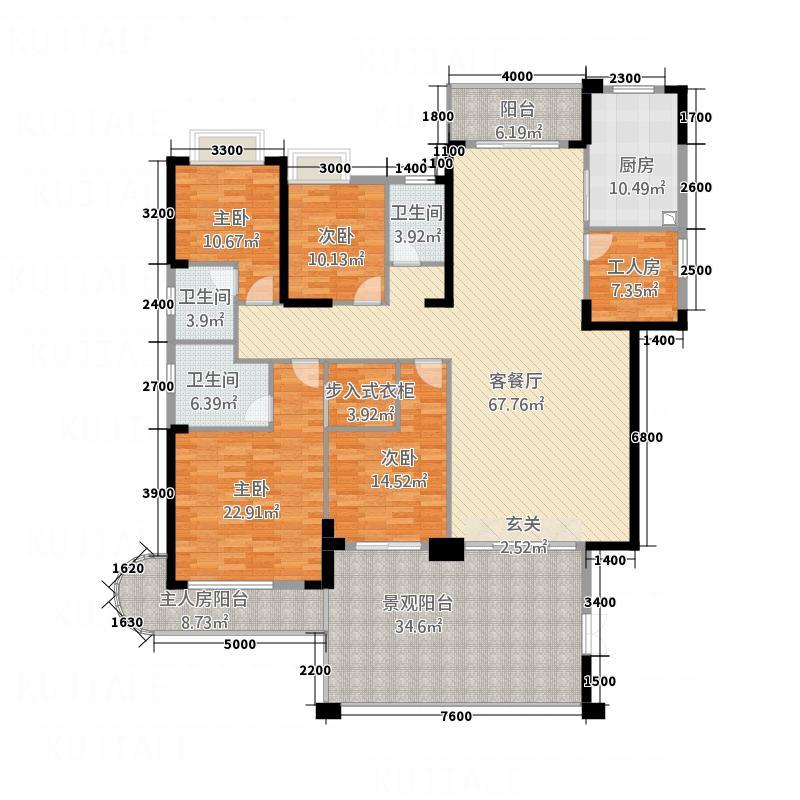 帝豪国际花园B101号户型4室2厅3卫