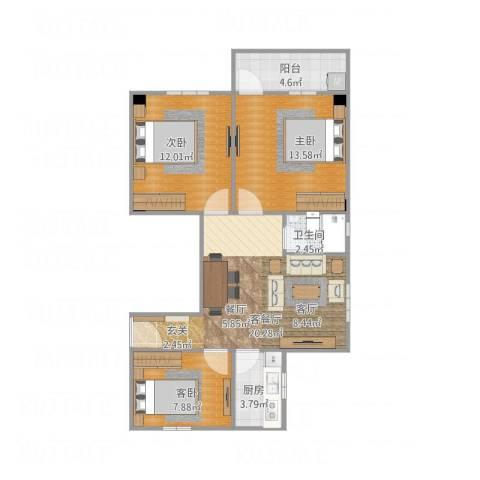 玉带园小区3室1厅1卫1厨91.00㎡户型图