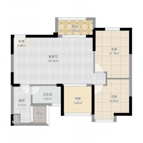 万象凯旋湾3室1厅2卫1厨100.00㎡户型图