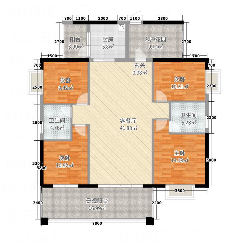 帝豪国际花园C101号户型4室2厅2卫