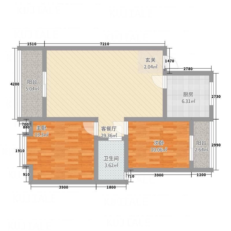 紫金花A座86.81㎡J户型2室2厅1卫1厨