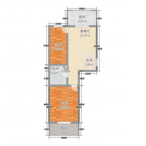 上善水苑2室1厅1卫1厨84.00㎡户型图
