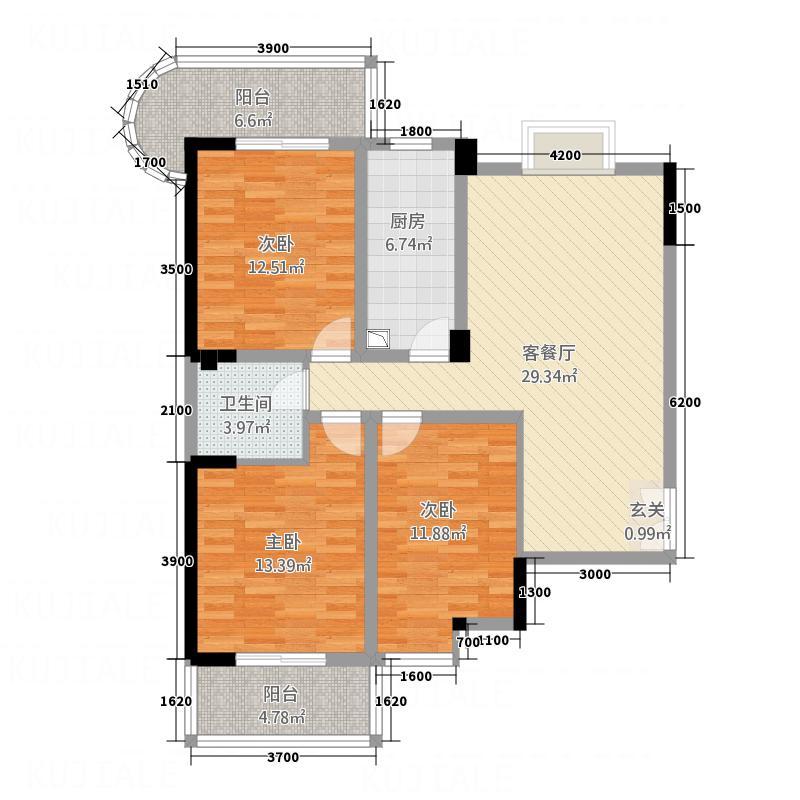 环球・外滩国际城一期131.68㎡D1户型3室2厅