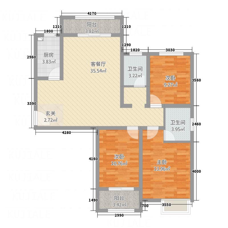 棕榈泉二期・铂宫128.10㎡H户型3室2厅2卫