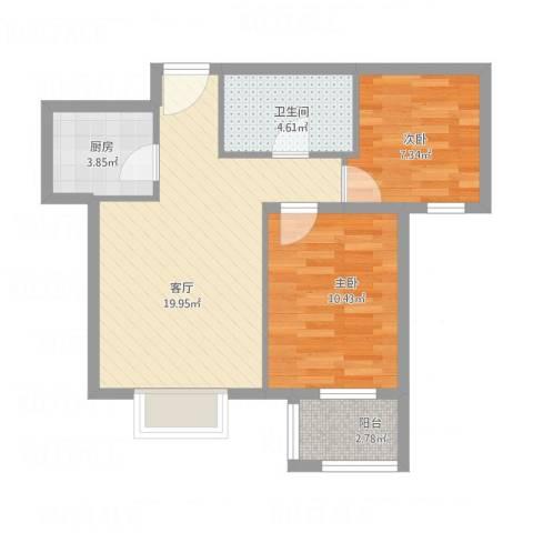 金垣置地2室1厅1卫1厨70.00㎡户型图