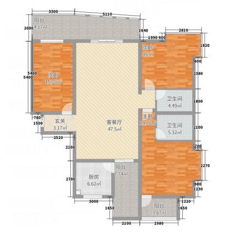 安江名园3室1厅2卫1厨169.00㎡户型图