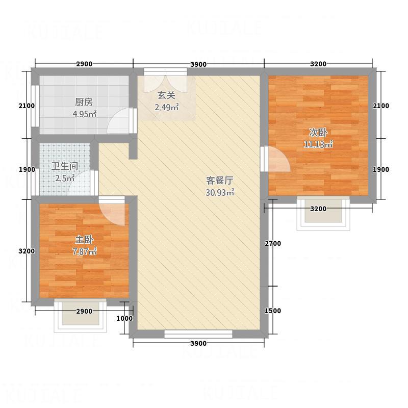 中博・孔雀蓝湾8.22㎡6、7、9、11#楼c户型2室2厅1卫1厨