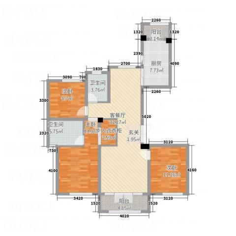 长安泰美御苑3室1厅2卫1厨136.00㎡户型图