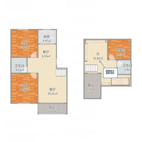 红枫苑3室1厅2卫1厨151.00㎡户型图