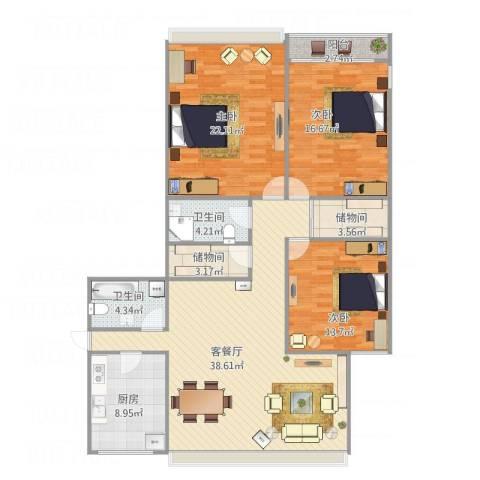 中大凤栖花园3室1厅2卫1厨158.00㎡户型图