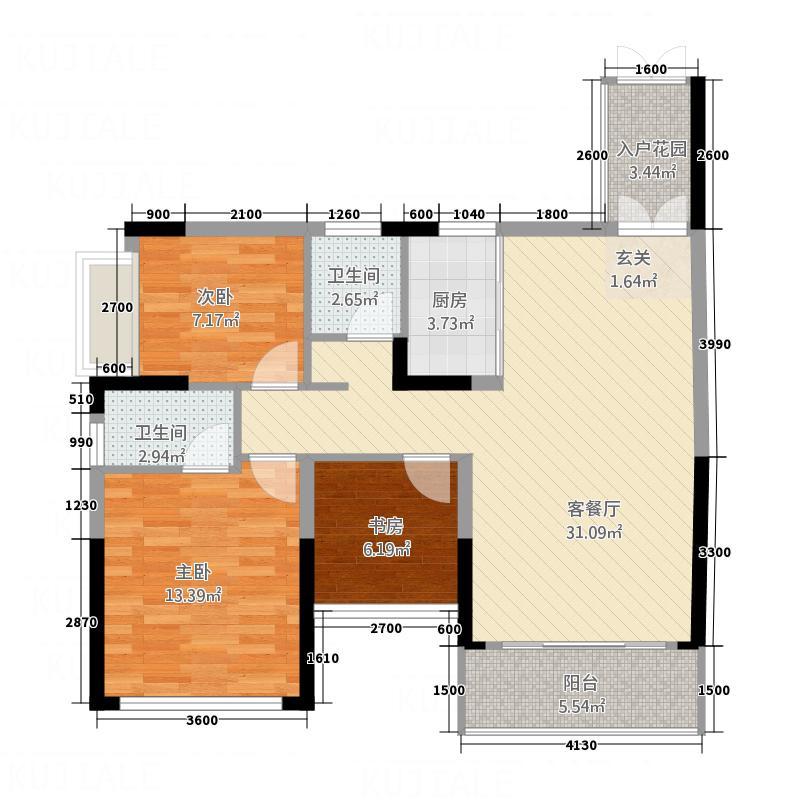 泰和华府6.00㎡B户型3室2厅2卫1厨